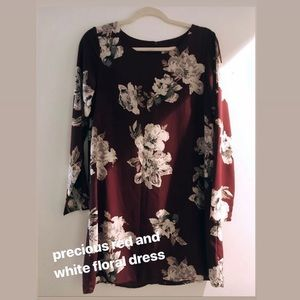 Red and White Floral Everly Dress
